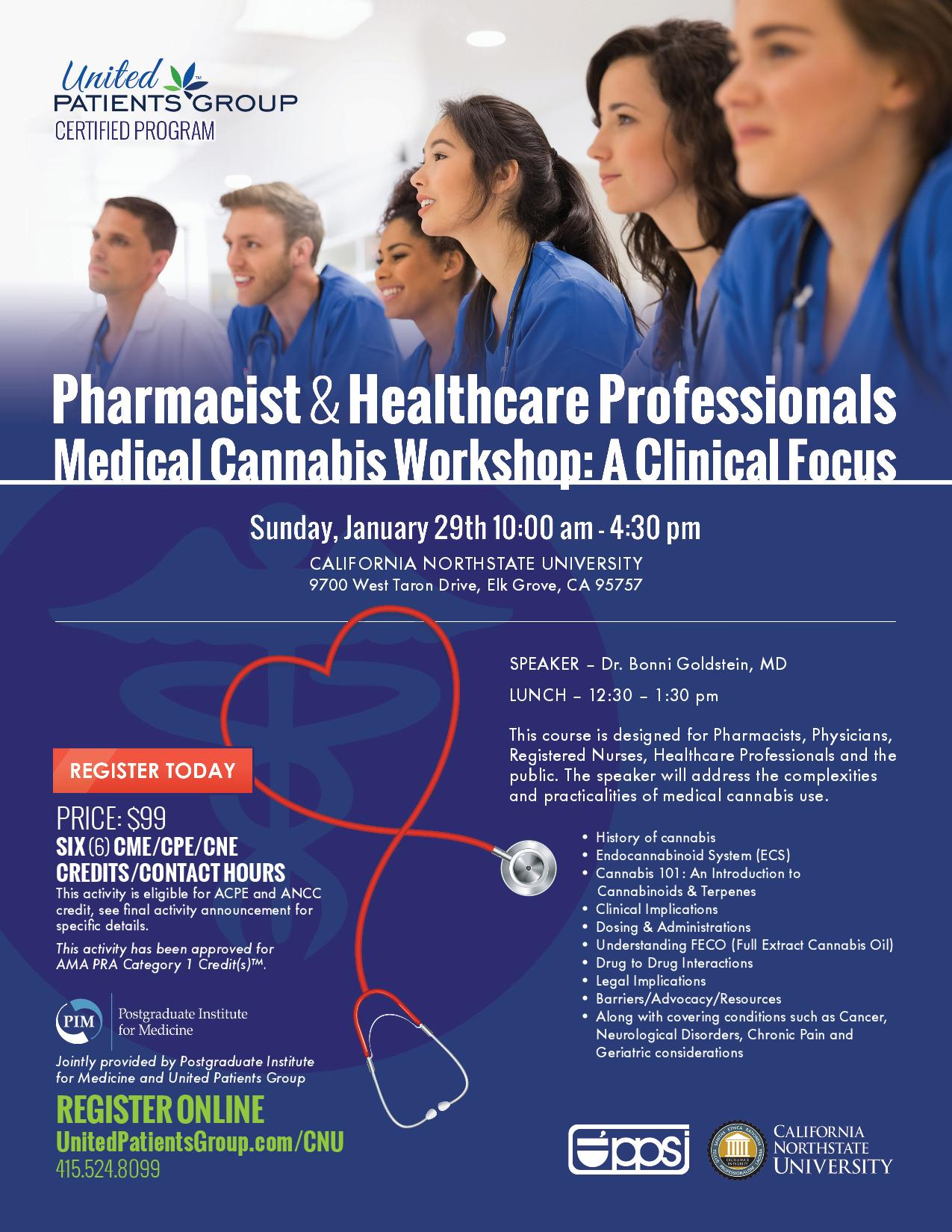 Pharmacist & Healthcare Professionals Medical Cannabis Workshop: Medical Education